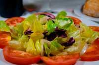 En primer plano ensalada de la huerta a base de tomate lechugas y cebolla