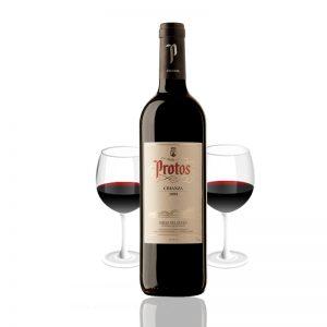 Botella con copa de Protos de Ribera del Duero