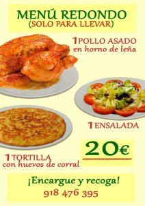 Cartel del menú redondo con fotos del pollo asado ensalada y tortilla española